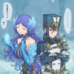 2girls artist_request breasts closed_eyes collarbone fire gloves hat highres kagutsuchi_(xenoblade) long_hair medium_breasts meleph_(xenoblade) military military_hat military_uniform multiple_girls pauldrons purple_hair reverse_trap short_hair simple_background smile translation_request uniform xenoblade_(series) xenoblade_2