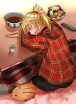 1girl :d black_pants blonde_hair closed_eyes drooling fate/apocrypha fate_(series) hair_ornament hair_scrunchie highres jacket kotatsu long_hair long_sleeves mordred_(fate) mordred_(fate)_(all) open_mouth pants plaid_jacket ponytail red_jacket red_scrunchie scrunchie sitting sleeping smile solo table tomotomow00w under_kotatsu under_table