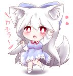 alternate_hair_length alternate_hairstyle animal_ear_fluff animal_ears arm_up blue_bow blue_dress blush bow breasts bright_pupils chibi cirno cirno_(cosplay) cosplay dress eyebrows_visible_through_hair fang hair_between_eyes hair_bow heart inubashiri_momiji long_hair long_sleeves looking_at_viewer medium_breasts neck_ribbon open_mouth petticoat red_eyes red_neckwear ribbon shirt simple_background standing standing_on_one_leg tail touhou twitter_username very_long_hair white_background white_hair white_legwear white_pupils white_shirt wolf_ears wolf_tail yairenko