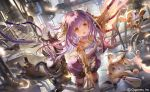 1girl :d animal_ears bangs bare_shoulders black_footwear blush brown_eyes character_request commentary_request dress dutch_angle eyebrows_visible_through_hair feathers hair_between_eyes headgear leaning_forward liiko long_hair official_art open_mouth outstretched_arm purple_dress purple_hair rabbit_ears robot shadowverse shoes sleeveless sleeveless_dress smile solo standing standing_on_one_leg thigh-highs very_long_hair watermark white_feathers white_legwear