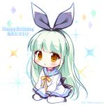 1girl :o bangs black_bow black_footwear black_hairband black_ribbon blue_sailor_collar blunt_bangs blush bow brown_eyes character_name chibi commentary_request diamic_days dress eyebrows_visible_through_hair green_hair hair_ribbon hairband happy_birthday himenogawa_kotora long_hair long_sleeves pantyhose parted_lips purple_collar ribbon ryuuka_sane sailor_collar sailor_dress shoes simple_background sitting sleeves_past_wrists solo sparkle twitter_username very_long_hair wariza white_background white_dress white_legwear