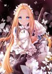 1girl abigail_williams_(fate/grand_order) bangs black_background black_dress blonde_hair blue_eyes blush braid butterfly_hair_ornament commentary_request dress eyebrows_visible_through_hair fate/grand_order fate_(series) forehead hair_bun hair_ornament hand_up heart heroic_spirit_chaldea_park_outfit highres keyhole long_hair long_sleeves looking_at_viewer mutang parted_bangs parted_lips shirt sidelocks sleeveless sleeveless_dress sleeves_past_fingers sleeves_past_wrists solo stuffed_animal stuffed_toy teddy_bear very_long_hair white_shirt