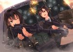2girls aiming ak-5 assault_rifle brown_hair bullet_hole commentary dreadtie firing gun highres holding holding_gun holding_weapon load_bearing_vest multiple_girls one_eye_closed original rifle school_uniform short_hair sig_552 smoke weapon