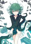 1girl absurdres bare_legs black_dress breasts collarbone commentary_request curly_hair dress floating floating_object green_eyes green_hair highres kikuwata long_sleeves looking_at_viewer one-punch_man rock short_hair simple_background solo tatsumaki telekinesis white_background