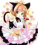 1girl animal_ears apron arms_up bangs bell black_dress blush brown_hair cardcaptor_sakura cat_ears cat_tail cowboy_shot dress eyebrows_visible_through_hair flower fuuin_no_tsue gradient gradient_background green_eyes head_tilt high_collar holding holding_wand jingle_bell kero kinomoto_sakura long_sleeves looking_at_viewer naruki neck_bell open_mouth outline paw_pose petals petticoat short_hair solo standing tail wand white_background yellow_background