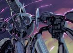 1boy armor claws glowing glowing_eye glowing_eyes grey_theme limited_palette looking_at_viewer metal_face no_humans pink_theme purple_background reaching_out robot samidare solo xenoblade_(series) xenoblade_1