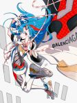 1girl :p absurdres balenciaga balenciaga_triple_s blue_hair blue_nails floating_hair full_body hako_(mypixid) highres long_hair looking_at_viewer nail_polish personification reaching_out red_eyes shoe_strap shoes sneakers solo tongue tongue_out