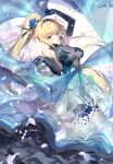 1girl bangs bare_shoulders blonde_hair blue_dres blue_eyes blue_flower blue_gloves blue_rose blush breasts craft_essence dress elbow_gloves eyebrows_visible_through_hair fate/apocrypha fate_(series) floating_hair flower gloves holding jeanne_d'arc_(fate) jeanne_d'arc_(fate)_(all) jewelry kousaki_rui large_breasts layered_dress long_hair looking_at_viewer necklace ponytail rose see-through shawl sleeveless sleeveless_dress smile solo tiara very_long_hair wind