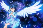 1girl angel_wings blue_dress blue_hair closed_eyes crazypen dress feathered_wings floating_hair hair_bun hair_ornament hands_clasped hugtto!_precure lens_flare long_hair long_sleeves own_hands_together pinafore_dress precure purple_ribbon ribbon shiny shiny_hair shirt short_dress sleeveless sleeveless_dress solo white_feathers white_shirt white_wings wings yakushiji_saaya