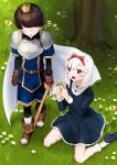 1boy 1girl :d :o animal bangs belt black_dress black_footwear blue_shorts blush bobby_socks boots bow breastplate brown_belt brown_footwear brown_gloves bug butterfly copyright_request crown day dress eyebrows_visible_through_hair faceless faceless_male fingernails flower flower_wreath gloves grass hair_between_eyes hair_bow highres holding holding_sword holding_weapon insect long_sleeves mini_crown mizuki_eiru_(akagi_kurage) on_grass open_mouth outdoors parted_lips pink_flower pink_rose red_bow red_eyes rose shoe_soles shoes short_sleeves shorts sitting smile socks standing sword wariza weapon white_flower white_hair white_legwear white_rose