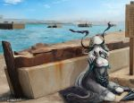 1girl blue_sky bridge chain chained chained_wrists cityscape clouds commentary_request day entombed_air_defense_guardian_hime hair_over_one_eye highres hood hood_up kantai_collection long_hair mizuchi_(mizuchi7118) ocean outdoors pier shinkaisei-kan shore sitting sky smile solo very_long_hair white_hair