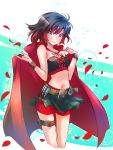 1girl adapted_costume bandolier belt black_hair black_skirt breasts bullet cape cartridge corset gradient_hair grey_eyes highres iesupa midriff multicolored_hair navel petals red_cape redhead rose_petals ruby_rose rwby short_hair shorts shorts_under_skirt skirt solo two-tone_hair wrist_wrap