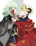 armor artist_request blonde_hair blue_eyes blue_hair breasts byleth byleth_(female) cape closed_mouth crown edelgard_von_hresvelgr_(fire_emblem) fire_emblem fire_emblem:_three_houses gloves hair_ornament highres horns long_hair older red_cape ribbon short_hair simple_background smile uniform upper_body white_background yuri