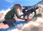 1girl ammunition_belt backpack bag bike_shorts brown_hair chips commentary dreadtie dust_cloud eating food gun highres looking_at_viewer lying machine_gun mouth_hold on_stomach original outdoors potato_chips shooting_glasses short_hair solo weapon weapon_request