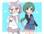 2girls :d animal_ear_fluff animal_ears bangs belt black_shirt blue_background blue_eyes blunt_bangs blush border commentary_request dog_(mixed_breed)_(kemono_friends) dog_ears dog_tail elbow_gloves eyebrows_visible_through_hair fang fur-trimmed_sleeves fur_trim gloves green_hair green_nails grey_hair grey_skirt grin hair_ribbon hands_up heart heterochromia jacket japari_symbol kemono_friends long_hair long_sleeves looking_at_viewer low_ponytail multicolored_hair multiple_girls open_mouth original overall_shorts pleated_skirt ransusan ribbon shirt short_hair simple_background skirt smile tail tomoe_(kemono_friends)_(niconico88059799) twitter_username two-tone_hair v white_background white_gloves yellow_eyes yellow_ribbon