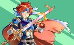 1boy armor blue_cape blue_eyes blue_headband cape fingerless_gloves fire_emblem fire_emblem:_the_binding_blade flaming_sword freckles gloves green_background headband highres holding holding_sword holding_weapon looking_at_viewer male_focus peter_eastwood red_cape red_gloves redhead roy_(fire_emblem) simple_background smile standing sword weapon