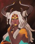 1girl aqua_dress blue_eyes bodypaint breasts commentary dark_skin dress english_commentary facepaint forehead_protector hair_on_horn hairlocs headband horns lips looking_at_viewer nail_polish original portrait sara_kinnaly sideboob solo tribal white_hair yellow_nails