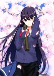 1girl absurdres artist_request bow buttons cherry_blossoms facing_viewer grisaia_(series) hand_on_own_face highres long_hair necktie purple_hair resized sakaki_yumiko school_uniform skirt smile source_request spring_(season) standing sweater tree tree_branch upscaled violet_eyes waifu2x