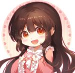 1girl :d bangs black_hair blush bow bowtie brown_eyes chibi chinese_commentary circle commentary_request eyebrows_visible_through_hair frilled_shirt_collar frilled_sleeves frills heart houraisan_kaguya light_particles long_hair long_sleeves looking_at_viewer open_mouth pink_shirt shangguan_feiying shirt sidelocks simple_background smile solo touhou upper_body white_background white_bow white_neckwear wide_sleeves