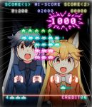 2girls :d animal_ear_fluff animal_ears arcade_cabinet bangs black_gloves black_hair black_neckwear blonde_hair blue_jacket bow bowtie brown_eyes commentary_request controller dl2go emphasis_lines extra_ears eyebrows_visible_through_hair ezo_red_fox_(kemono_friends) followers fox_ears fur-trimmed_sleeves fur_trim gloves grey_hair hair_between_eyes jacket joystick kemono_friends long_hair long_sleeves multicolored_hair multiple_girls necktie open_mouth orange_jacket playing_games reflection silver_fox_(kemono_friends) smile space_invaders two-tone_hair very_long_hair white_neckwear yellow_neckwear