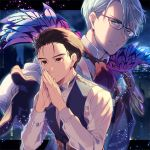 2boys black_gloves black_hair blue_eyes brown_eyes cape collared_shirt cosplay fate/grand_order fate_(series) glasses gloves hair_slicked_back hands_together james_moriarty_(fate/grand_order) james_moriarty_(fate/grand_order)_(cosplay) katsuki_yuuri kuroemon male_focus multiple_boys sherlock_holmes_(fate/grand_order) sherlock_holmes_(fate/grand_order)_(cosplay) shirt silver_hair smile viktor_nikiforov waistcoat yuri!!!_on_ice