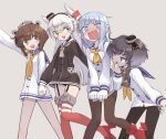 4girls adapted_costume amatsukaze_(kantai_collection) black_hair black_legwear blue_hair blue_sailor_collar brown_dress brown_eyes brown_hair commentary_request dress dress_pull embarrassed feet_out_of_frame garter_straps gradient_hair grey_background greyscale hair_tubes hat hatsukaze_(kantai_collection) headgear headset hime_cut holding_hands kantai_collection long_hair matching_outfit mini_hat monaka_ooji monochrome multicolored_hair multiple_girls neckerchief open_mouth pantyhose red_legwear round_teeth rudder_footwear sailor_collar sailor_dress sailor_shirt shirt short_dress short_hair short_hair_with_long_locks sidelocks silver_hair simple_background speaking_tube_headset striped striped_legwear teeth thigh-highs thighband_pantyhose tied_shirt tokitsukaze_(kantai_collection) two_side_up upper_teeth wavy_mouth white_dress white_hair white_sailor_collar windsock yellow_neckwear yukikaze_(kantai_collection)