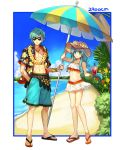 1boy 1girl 2900cm angry beach beach_umbrella bikini bikini_skirt blue_hair bracelet brother_and_sister cargo_pants cup eirika ephraim fire_emblem fire_emblem:_seima_no_kouseki fire_emblem:_the_sacred_stones fire_emblem_heroes flower flower_necklace happy hat holding holding_drink intelligent_systems jewelry long_hair necklace nintendo ocean open_clothes open_shirt pants sand sandals shirt short_hair siblings skirt straw_hat sunglasses super_smash_bros. super_smash_bros_brawl swimsuit tea twins umbrella