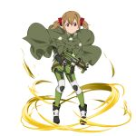 1girl black_footwear black_gloves boots brown_hair cape closed_mouth fingerless_gloves frown full_body gloves green_cape green_pants gun hair_between_eyes highres holding holding_gun holding_weapon looking_at_viewer military military_uniform official_art pants red_eyes shiny shiny_hair short_hair short_twintails silica solo standing sword_art_online transparent_background twintails uniform weapon