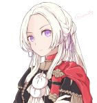 1girl airisuotog blonde_hair blue_eyes cape cravat edelgard_von_hresvelgr_(fire_emblem) fire_emblem fire_emblem:_three_houses gloves hair_ornament highres long_hair looking_at_viewer pantyhose red_cape ribbon simple_background solo uniform upper_body white_background