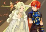 1boy 1girl :d armor blonde_hair blue_armor blue_cape blue_headband brown_eyes cape circlet cloak closed_eyes dress fire_emblem fire_emblem:_the_binding_blade fur-trimmed_cloak fur_trim guinevere_(fire_emblem) headband jewelry light_smile long_hair necklace open_mouth redhead roy_(fire_emblem) shoochiku_bai smile sword weapon white_cloak white_dress