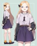 1girl abigail_williams_(fate/grand_order) absurdres alternate_costume arms_behind_back bangs black_bow blonde_hair blue_eyes blush bow character_name clothes_writing commentary_request fate/grand_order fate_(series) forehead garin green_background hair_bow hand_on_hip highres long_hair long_sleeves looking_at_viewer multiple_views orange_bow orange_legwear parted_bangs parted_lips polka_dot polka_dot_bow purple_footwear purple_shirt purple_skirt shirt shoes short_over_long_sleeves short_sleeves skirt smile socks standing twitter_username two-tone_background v-shaped_eyebrows very_long_hair white_background