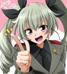 1girl anchovy anzio_military_uniform drill_hair epaulettes girls_und_panzer green_hair kirisaki_reina long_hair long_sleeves one_eye_closed open_mouth pointing red_eyes smile solo teeth tongue twin_drills