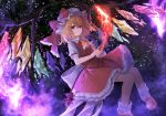1girl ascot aura bangs blonde_hair bow commentary crystal eyebrows_visible_through_hair feet_out_of_frame flandre_scarlet frilled_shirt_collar frills hair_between_eyes hat hat_bow highres holding invisible_chair laevatein light_particles lo-ta looking_at_viewer mob_cap one_side_up petticoat puffy_short_sleeves puffy_sleeves red_bow red_eyes red_footwear red_skirt shirt shoes short_hair short_sleeves sidelocks sitting skirt socks solo symbol_commentary touhou white_headwear white_legwear white_shirt wings yellow_neckwear