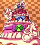 alcremie bow cake checkered_background flower_pattern frosting_bag gigantamax heart_pattern inika-xeathis layer_cake no_humans pink pokemon pokemon_(creature) pokemon_(game) red_eyes