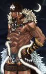 1boy abs bara brown_hair crescent_moon dark_skin dark_skinned_male facial_hair fur_trim hands_on_hips headband highres izukonohito jewelry male_focus moon muscle navel necklace night night_sky nipples pointy_ears sky spiky_hair standing tangaroa tattoo tokyo_houkago_summoners white_hair yellow_eyes