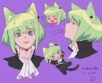 1boy :3 absurdres animal_ears black_gloves black_jacket cat_ears cat_tail catboy cravat ear_piercing fang gloves green_hair highres jacket lio_fotia male_focus open_mouth piercing promare tail tongue tongue_out violet_eyes yagita_(astronomie)