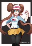 1girl black_legwear breasts brown_hair double_bun green_eyes highres holding holding_poke_ball legwear_under_shorts long_hair mei_(pokemon) midriff navel pantyhose poke_ball pokemon pokemon_(game) pokemon_bw2 shorts small_breasts visor_cap yakiniku_oc