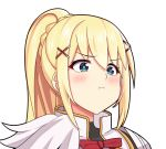 1girl :t blonde_hair blue_eyes blush breasts darkness_(konosuba) hair_ornament kono_subarashii_sekai_ni_shukufuku_wo! large_breasts long_hair looking_at_viewer ponytail pout r3d solo tsuujou_kougeki_ga_zentai_kougeki_de_ni-kai_kougeki_no_okaasan_wa_suki_desu_ka? x_hair_ornament