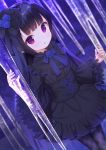 1girl :o bangs black_dress black_hair black_legwear blue_bow blue_flower blue_rose bow chitosezaka_suzu commentary copyright_request dress dutch_angle eyebrows_visible_through_hair flower hand_up long_hair long_sleeves looking_at_viewer pantyhose parted_lips rose sidelocks sleeves_past_wrists solo standing very_long_hair violet_eyes wide_sleeves