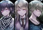 1girl 2boys ahoge akamatsu_kaede amami_rantarou antenna_hair artist_name black_hair blonde_hair breasts checkered checkered_scarf collarbone commentary_request danganronpa ear_piercing earrings eyebrows_visible_through_hair from_side green_eyes green_hair hair_ornament jewelry large_breasts long_hair looking_at_viewer multiple_boys musical_note_hair_ornament necklace new_danganronpa_v3 orange_neckwear ouma_kokichi piercing pink_eyes scarf short_hair striped striped_sweater sweater violet_eyes z-epto_(chat-noir86)