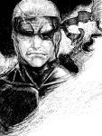 eyepatch humio konami metal_gear metal_gear_solid metal_gear_solid_4 monochrome old_snake sketch solid_snake
