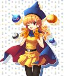 :d alena bandaid cape curly_hair dragon_quest dragon_quest_iv dress earrings gloves hat jewelry long_hair metal_slime narinn open_mouth orange_hair pantyhose red_eyes red_slime slime_(dragon_quest) smile v wink x_x