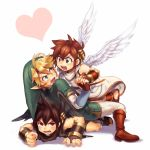 11kkr blonde_hair blue_eyes brown_eyes brown_hair dark_pit dual_persona earrings gloves hat heart jewelry kid_icarus link nintendo pit_(kid_icarus) pointy_ears the_legend_of_zelda twilight_princess wings