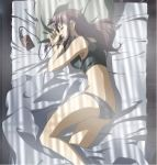 bare_shoulders bed bed_sheet black_lagoon black_panties brown_hair butt_crack cap closed_eyes earbuds earphones long_hair lying midriff panties revy screencap sheets sleeping tank_top tape_player underwear walkman
