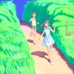 blue_hair denim denim_shorts dress field flash_tomo grass highres long_hair multiple_girls running sandals shadow short_hair shorts tank_top