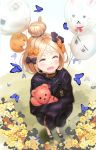 1girl abigail_williams_(fate/grand_order) balloon bangs black_bow black_jacket blonde_hair bow brown_collar bug butterfly closed_eyes collar commentary_request fate/grand_order fate_(series) flower hair_bow hair_bun highres insect jacket kian long_hair object_hug orange_bow orange_flower outdoors parted_bangs sleeves_past_fingers sleeves_past_wrists solo standing stuffed_animal stuffed_toy teddy_bear yellow_flower