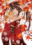 1girl alternate_costume animal_print asle autumn_leaves black_hair breasts cat_print collarbone commentary_request date_a_live flower from_side hair_flower hair_ornament holding japanese_clothes kimono large_breasts leaf long_hair long_sleeves red_eyes red_kimono smile solo tokisaki_kurumi translation_request twintails wide_sleeves yellow_eyes