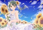 1girl alternate_costume blue_sky breasts clouds collarbone commentary_request day dress flower green_eyes green_hair hair_ribbon holding holding_flower kantai_collection long_hair looking_at_viewer minakami_nagara outdoors ribbon sky sleeveless sleeveless_dress small_breasts smile solo sundress sunflower twintails white_dress white_ribbon zuikaku_(kantai_collection)