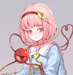 1girl bangs blue_shirt blush breasts commentary frilled_shirt_collar frills grey_background hair_ornament hairband heart heart_hair_ornament heart_of_string heoningu komeiji_satori long_sleeves looking_at_viewer pink_eyes pink_hair red_hairband ribbon-trimmed_collar ribbon_trim shirt short_hair simple_background small_breasts solo symbol_commentary third_eye touhou upper_body