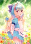 1girl ahoge backlighting bangs blonde_hair blue_dress blue_gloves blue_hair blurry blurry_foreground blush bow bug butterfly colored_eyelashes commentary_request day depth_of_field dress eyebrows_visible_through_hair flower frilled_bow frills gloves hair_between_eyes hair_bow insect kuroe_(sugarberry) little_alice_(wonderland_wars) looking_at_viewer looking_to_the_side multicolored_hair outdoors parted_lips pink_flower puffy_short_sleeves puffy_sleeves purple_bow red_eyes red_flower short_sleeves smile solo striped striped_legwear thigh-highs two-tone_hair vertical-striped_legwear vertical_stripes wonderland_wars yellow_flower